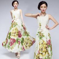 2014 women  plus size one-piece long dress summer chiffon beach dress bohemia expansion print bottom