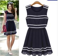 Summer Dress 2014 Desigual Women Dress Fashion Party Dresses Navy Blue Sleeveless Lace Decoration Chiffon One-piece Dress A 44