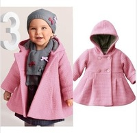 Autumn and winter Female child baby jacquard children's cotton-padded  overcoat with a hood outerwear