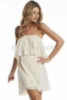 2014 Fashion New Arrival Sexy Women strapless summer dress desigual vestidos de fiesta lace chiffon dressess Free shipping