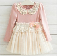 Guangdong Best Quality Spring Fall Children Dress Korean Pearl Pure Cotton Net Yarn Girls Lace Princess Dress Kid's Dresses QZ61