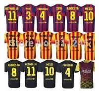 Free Shipping !! 1 Set Spain Club Soccer Jersey 2013~14 Thailand Quality Messi Jersey Popular Camisetas De Futbol US Size S~XL