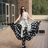 New summer dress 2014 fashion polka dot ultra expansion bottom chiffon long dress mopping the floor plus size casual dress X64