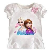 2014 new girls tee shirt summer kids top t shirt frozen cartoon design children's short sleeve babys fashion clothing two color