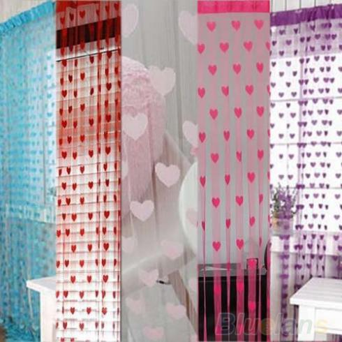 novo chegou linha do coração bonito lindo pendão corda porta janela cortina valência cortina divisória 00sf(China (Mainland))