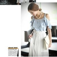 2014 summer chiffon one-piece dress ruffle slim skirt spaghetti strap bohemia full dress