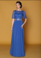 Entrancing 2014 Royal Half Sleeve Bateau Lace Beaded and Chiffon A-Line Mother Of The Bride Dresses Wedding Party Gown