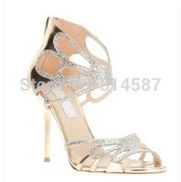 New 2014 Back Zipper Mesh Sandal High Heels Crystal Encrusted Sandals