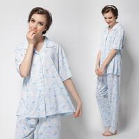 Summer Dress 2014 Pajama Sets Short-sleeve Collar Sleepwear Buttons 100% Cotton Women Nightwear Sleep Set Free Shipping