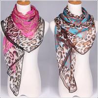 free shipping Fashion Hot Brand Letter Scarf slanting stripe  chiffon silk scarf air conditioning leopard print scarf cape