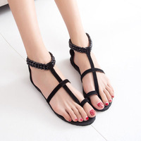 New arrival 2014 vintage HARAJUKU national trend beads flat heel sandals flip female shoes