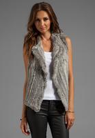 100% Real Natural Rabbit Fur Vest, Fur Waistcoat Cincilla & Leopard Natural Colour, CPA Free Shipping SU-14026