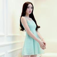 gentlewomen princess dress sleeveless slim organza patchwork chiffon lace dress female