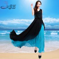 patchwork chiffon dress female sleeveless slim bohemia full dress beach dress