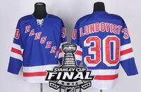 2014 Stanley Cup Finals Patch New York Rangers #30 Henrik Lundqvist Light BLue Ice Hockey Jerseys Embroidery logos Size 48-56