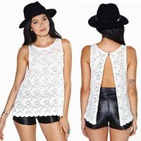2014 New Sexy See Thru Slit Open Back Flower Floral Lace Crochet Petal Sleeveless Loose Tank Vest Top Blouse Shirt
