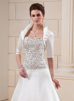 Ivory Half-Sleeve Satin Wedding Jacket