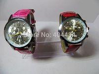 2014 NEW Fashion 6 Pointer men women Quartz Watch Wristwatch ladies dress watch leather strap post air mail free shipping 10pcs