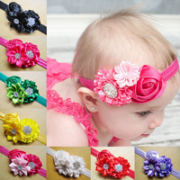 BABY GIRL HEADBAND 30pcs/lot mixed colors handmade flower with stone and elastic headband hair ornaments accessory FREE SHIPPING