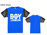 Boy london fashion t-shirt men leather/leopard short sleeve t-shirt mens high quality cotton tshirt S M L XL XXL XXXL