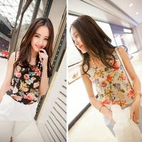 New Arrival 1PC Women Casual Chiffon Sleeveless Flower Shirt Woman Blouse Vest Tank Tops Free shipping &wholesale Alipower