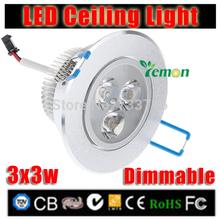 4PCS 9w led downlight dimmable Recessed Spot light AC110v 220v 230v 240v led down lights for home illumination Free shipping(China (Mainland))