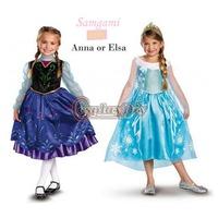 Free Shipping Frozen Princess Elsa Anna Dress Costume Movie Cosplay Costume For Kids/Girls