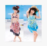 The 2014 summer girl's skirt bikini a three-piece suit Big boy girl spa bathing suit free shipping