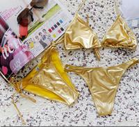 Sexy golden Bikini three piece swimsuit swimsuit show chest spa slim Vitoria secret delight