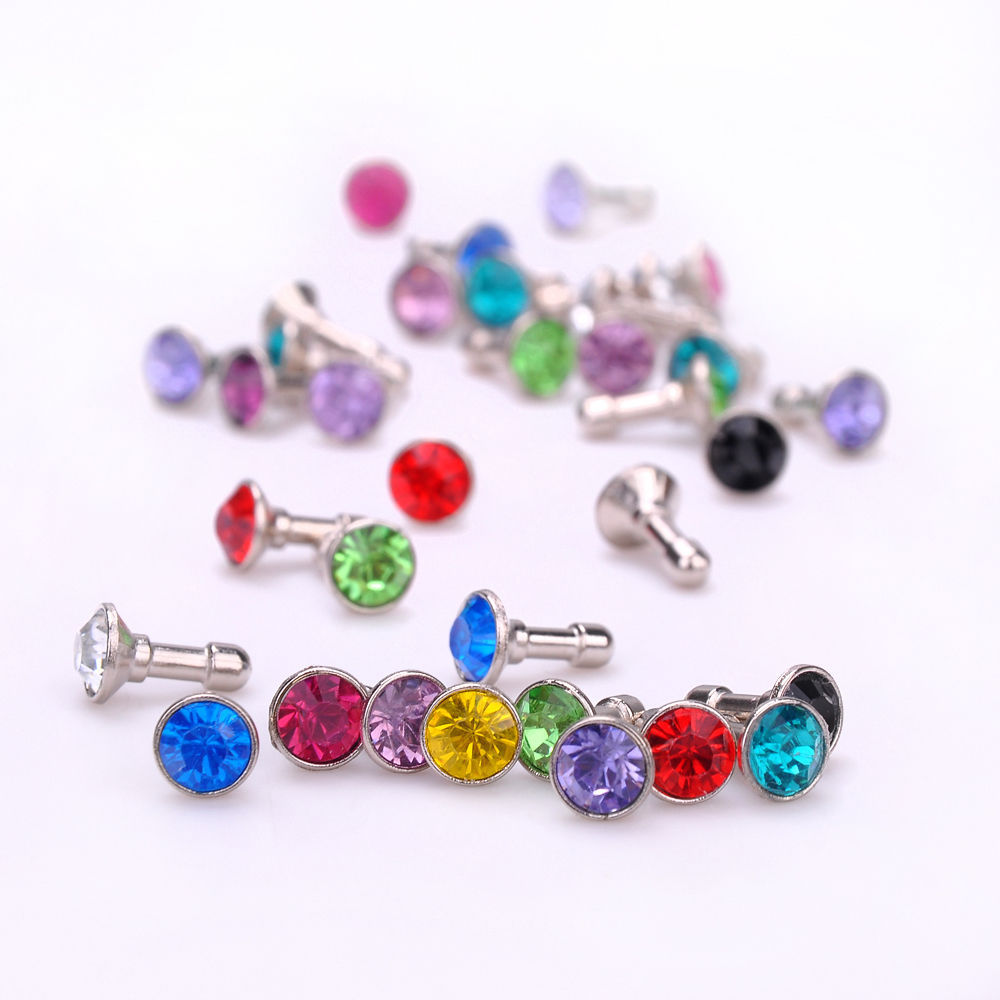 100 pcs Bling Diamond 3.5mm Earphone Jack Anti Dust Plug Cap Stopper mobile phone gadget accessories For IPHONE 5 4S Samsung Htc(China (Mainland))