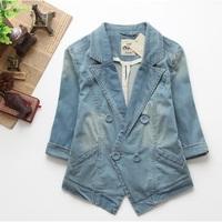 2014 New Fashion Europe Brand Women Denim Jacket Girl Jeans Lady Jaqueta Plus Size Free Shipping