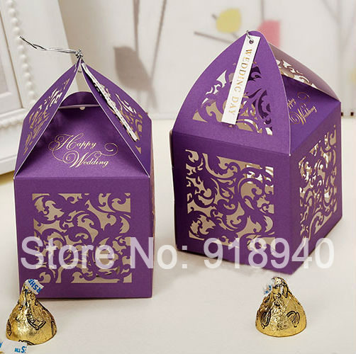 Purple Personalized Laser Cut Paper Candy Gift Favor Boxes Wedding ...
