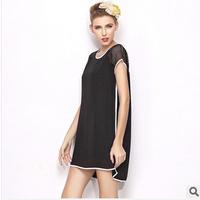 2014 summer new women's boutique Irregular loose  gauze hollow black Straight dress O-neck Casual sexy dress Mini freeshipping