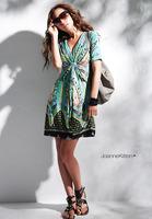 New arrival women's short sleeve v-collar dress flower printing