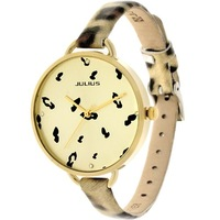 Julius Leopard Leather Strap Korean Fashion Women Dress Watch Lady Wristwatch Quartz Watches Brand Retro Style Clock Br Relogio