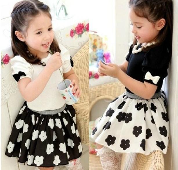 AliExpress.com Product - Summer Korean Good Quality Children Clothing Set Pure Cotton T Shirt + Flower Skirt 2pcs Girl Suit Kids Skirt Set XR303