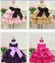 2014 Sale Real Peppa Vestidos Infantis Frozen Retail Girl Dress Birthday Party Princess Big Bowknot Dresses for Christmas Colors(China (Mainland))