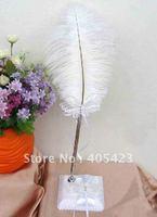 Free shipping / Butterfly Rhinestone ostrich feather pen / brush / pen / wedding supplies/bqf-0099