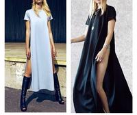 New 2014 Summer women Cotton Long Dresses short Sleeve Novelty Celebrity maxi casual shirt dress the pop of junk gypsy tee YQ025