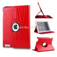 Fashion Red Crocodile 360 Degree Rotating Folding Folio Case Protective Skin Shell Cover For iPad 2 iPad 3 iPad 4