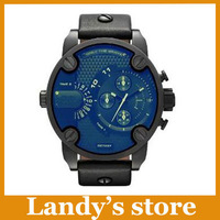 2014 new DZ7257 Leather Strap Steel Case Blue Dial Men's fashion watches Wristwatch+logo+original box