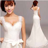 Free shipping 2014 new fashion Condole belt deep v-neck fishtail trailing lace wedding dress, senior wedding dresses XS-XXXL