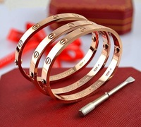 2014 Fashion jewelry 14k rose gold Plated Swiss drill forever love lock together  titanium girls men bracelet Free shipping