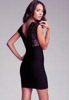 Latest Women's lace nice deep v-neck sheath dress sexy designer female Fashion elegant celebrity Bandage dress H577
