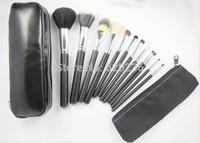 Cheapest Cosmetic Brush 2014 New 12pcs/Set Face Brush Makeup Brush Set Tool Kit + Zipper Leather Pouch case Bag 20sets/lot