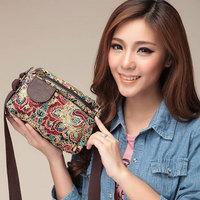 2014 new fashion brand vintage women handbag shoulder bag Reactive dyeing canvas bags retro women messenger bag free shipping