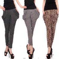 Ice silk harem pants new Korean leopard print capris elastic waist  fitness stretch yoga pants casual female direct sale 2014