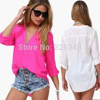Korean Fashion Womens Chiffon Tops Foldable Sleeve Summer Shirt Casual Blouse