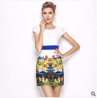 Brand new summer 2014 haute couture boutique Slim plus size Printing dress OL female patchwork Cute A-Line Freeshipping