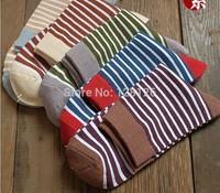 1lot=5pairs=10pcs Navy style male men's socks 100% cotton stripe casual knee-highsocks  Business basketball casual socks